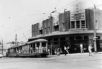 Annandale, New South Wales - Former tram service, corner of Booth and Johnston Streets 1955