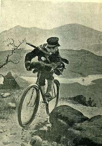 Courier - Japanese military bike courier pursued by Cossacks (1904). On foot, military couriers are known as runners.