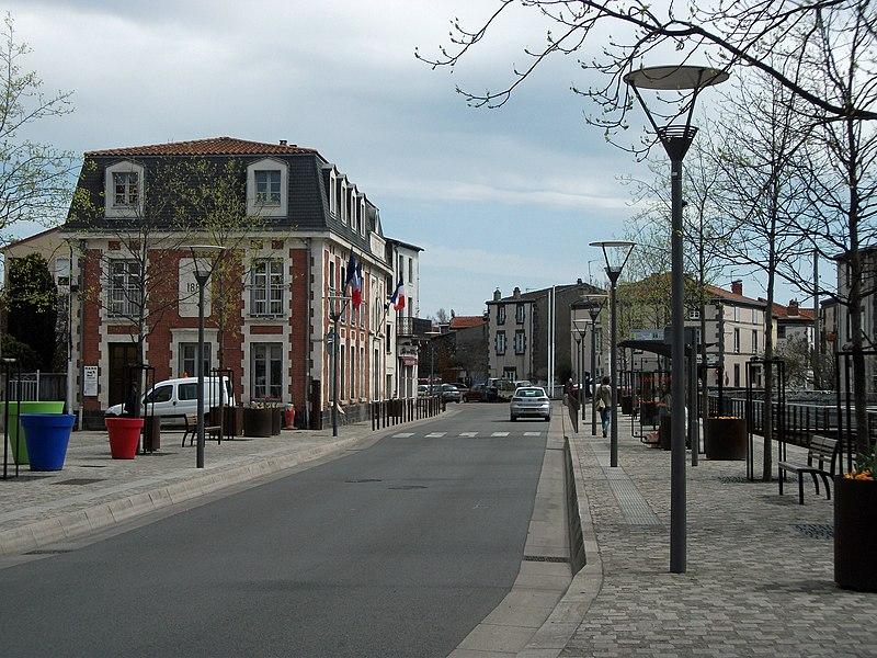 Cours des Perches towards Clermont-Ferrand (+ town hall) in Cébazat, Puy-de-Dôme, Auvergne, France.