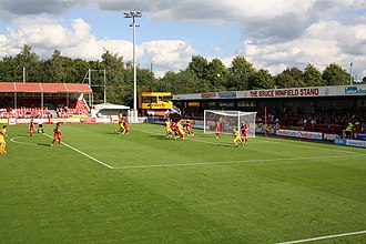 Football in Sussex - Crawley Town playing against Yeovil Town in September 2015.  Crawley became the second team in Susssex to join the Football League in 2011