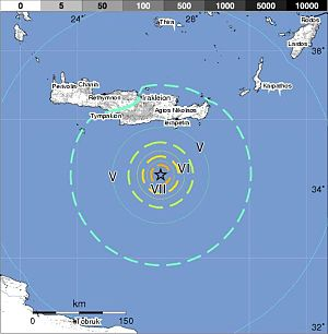 2009 Crete earthquake - Image: Crete earthquake 2006 7 1 USGS map