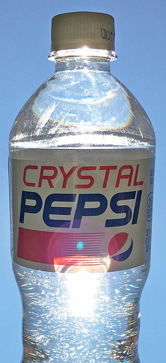 Cola - Crystal Pepsi, 20 oz. bottle, as seen in the US in 2016