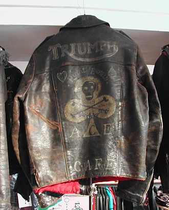 Rocker (subculture) - Customised Lewis Leathers motorcycle jacket with Ace Cafe details
