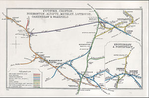 Normanton railway station - A 1912 Railway Clearing House Junction Diagram showing railways in the vicinity of Normanton