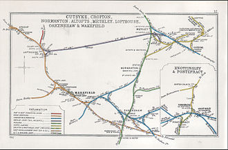 Castleford railway station -  Railway Clearing House diagram showing lines from Castleford in 1912.