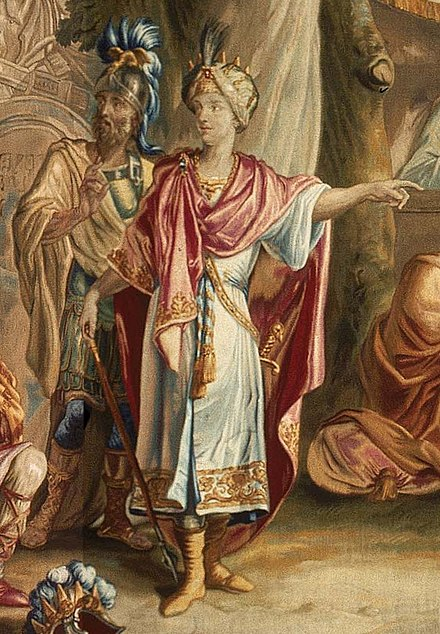 Cyrus the Great (center) with his General Harpagus behind him, as he receives the submission of Astyages (18th century tapestry). Cyrus the Great with General Harpagus (18th century).jpg