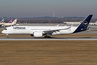 A Lufthansa Airbus A350-900 XWB painted in the airline's latest livery D-AIXI at MUC.jpg