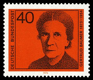Gertrud Bäumer - Gertrud Bäumer, German commemorative postage stamp 1974