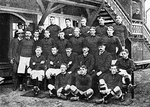 Harald Bohr - Danish football team at the 1908 Olympic games. Bohr is on the top row, 2nd from left.