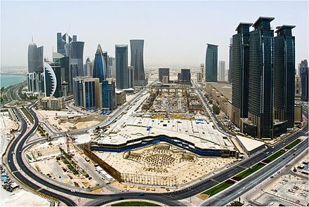 Developments in Doha's West Bay district have seen an increase in the population density of the area with the construction of several high-rises. DOHA CORNISH JUNE 07 2011.JPG