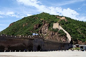 Ming Great Wall - The Great Wall at Dajingmen, part of the Xuanfu stretch of the Great Wall. The gate structure is a Qing dynasty construction.