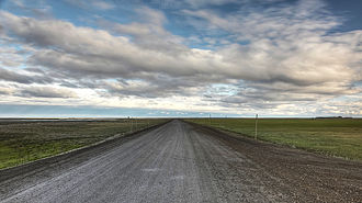Dalton Highway - The highway facing south from Deadhorse, near the Arctic Ocean.