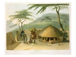 """Samuel Daniell - """"A Boosh-Wannah Hut"""" (1804)"""