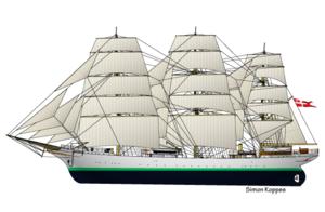 Danmark (ship) - Image: Danish tallship Danmark