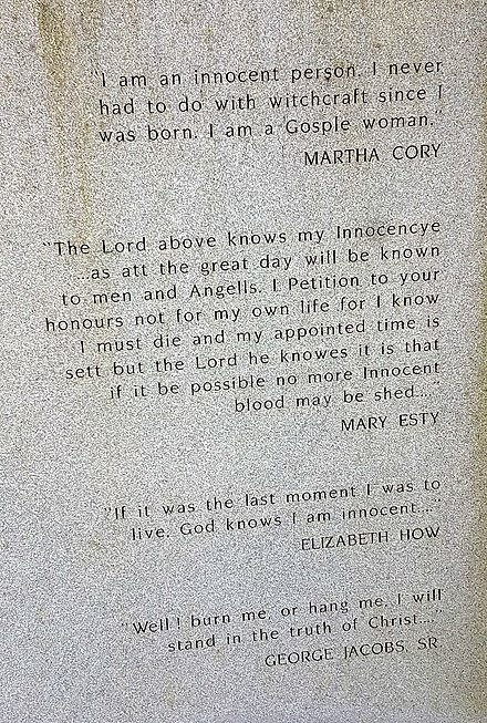 Statements of innocence, Part of the memorial for the victims of the 1692 witchcraft trials, Danvers, Massachusetts Danvers victims memorial, quotations from victims.jpg