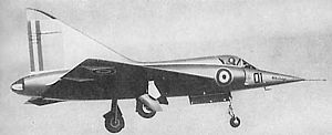 Dassault Mirage III - The tailless 1955 Mirage delta-wing prototype with the very large vertical stabilizer and no horizontal stabilizer and no flaps