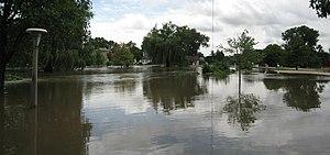 2007 Midwest flooding - The Kishwaukee River near the Northern Illinois University Art Building, August 24, 2007, DeKalb.