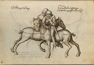 Ringen - First plate of the mounted grappling (ringen zu ross) section in Hans Talhoffer (1467)