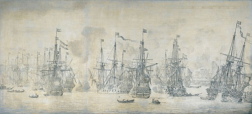 De mislukte aanslag van de Engelsen op de retourvloot in de haven van Bergen - The failed attempt of the English on the Dutch ships returning from Bergen. August 12 1665 (Willem van de Velde I, 1669)