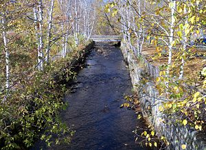 Dead River (New Hampshire) - Channelized portion of the Dead River near downtown Berlin