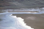 Salt shoreline remodeled landscape at Devil's Golf Course from Dante's View