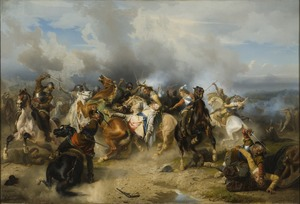 Death of King Gustav II Adolf of Sweden at the Battle of Lützen (Carl Wahlbom) - Nationalmuseum - 18031.tif