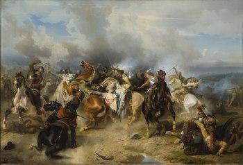 Gustav II Adolf's death in the battle of Lützen, painting by Carl Wahlbom from 1855