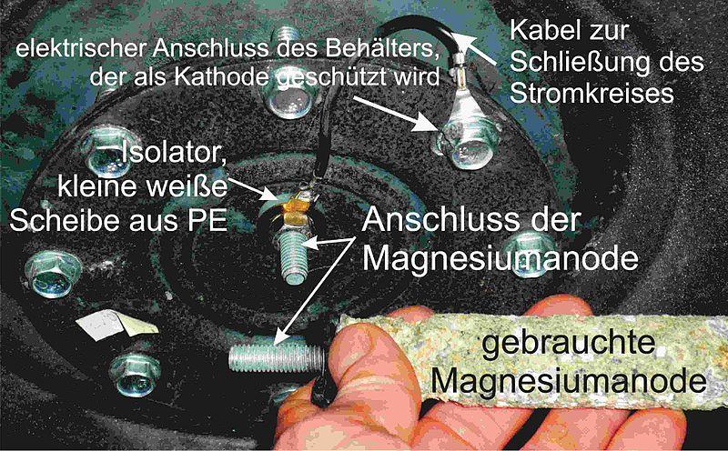 Datei:Deckel eines Boiler mit kathodischem Korrosionsschutz mit Beschreibng.JPG