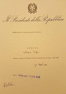 Il decreto di nomina firmato dal Presidente della Repubblica Sergio Mattarella