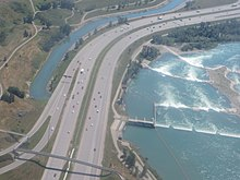 From the southern city limit to Memorial Drive, Deerfoot Trail parallels the Bow River in south Calgary.