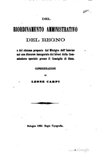 File:Del riordinamento amministrativo del Regno (Carpi).djvu