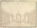 """Designs for Stage Set- Three Pavillions in Background with """"Oriental"""" (Ogival) Cupolas with Two Small Fountains between Them. in Foreground, a large Fountain with Dolphins Surmounted by Neptune. MET DP820205.jpg"""