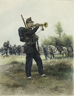 Light infantry - Chasseurs a pied bugler, full dress, 1885.