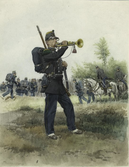Detaille - Chasseurs a pied bugler, full dress, 1885