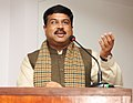Dharmendra Pradhan addressing at the signing ceremony of an MoU between NALCO & NTPC to set up a joint venture company for starting power projects at Gajamara, Odisha with capacity of 2400MW, in New Delhi.jpg