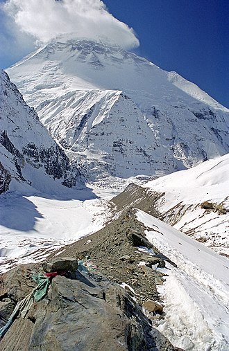 Dhaulagiri - Dhaulagiri I in October 2002. The northeast ridge is the left skyline.