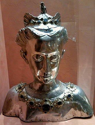 Urszula Meyerin - Silver reliquary of Saint Ursula by Stanisław Ditrich, ca. 1600, Diocesan Museum in Płock. It most probably bears the features of mistress of Sigismund III Vasa.