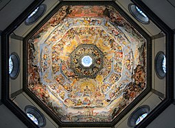 Vasari's fresco begun in 1568, and completed by Federico Zuccari in 1579. Dome of Cattedrale di Santa Maria del Fiore (Florence).jpg