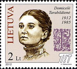 Domicėlė Tarabildienė 2012 Lithuania stamp.jpg