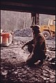 Doren Bishop, Superintendent for Robin Mines Owned by the Alma Coal Corporation near Clothier and Madison, West Virginia Kneels Inside the Opening Which Recently Had Been Made 04-1974 (3907216682).jpg