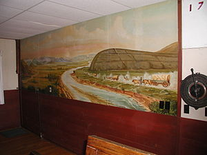Camp Douglas (Wyoming) - Image: Douglas WY WWII POW Camp Mural Independence Rock