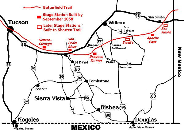 Map for location of Dragoon Springs Stage Station. Map by Gerald T. Ahnert.