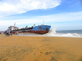 "Mundakkal Beach - Image: Dredger ""Hansitha"" at Kollam(Quilon) coast, Jul 2016"