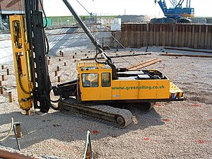 Deep foundation - Pipe piles being driven into the ground