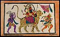 Durga riding on a tiger in triumph with Hanuman and yogi. Co Wellcome V0044985.jpg