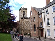 St Chad's College main building looking north, with Durham Heritage Centre beyond