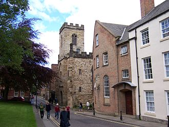 St Chad's College, Durham - St Chad's College main building looking north, with Durham Heritage Centre beyond