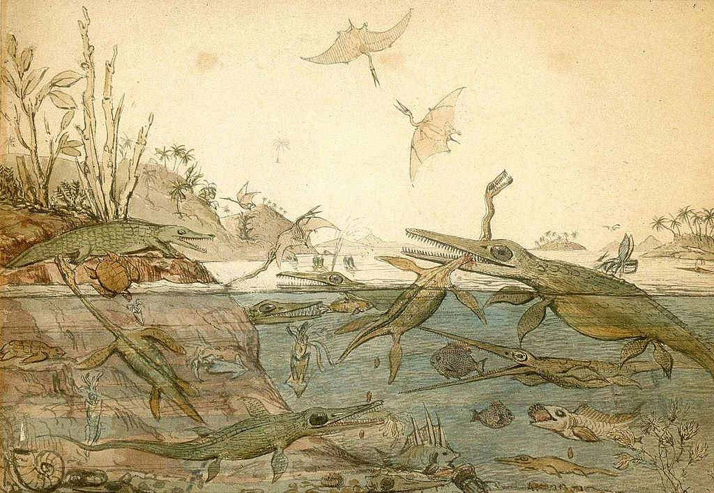 Henry De la Beche根據瑪麗安寧的化石所繪製的圖片,這是世界上第一幅根據化石而推想出來的史前生物場景圖。