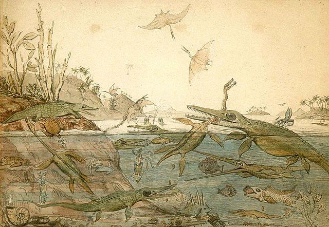 famosa acuarela pintada en 1830 por el geólogo inglés Henry De la Beche. Fue la primera representación pictórica de una escena de vida prehistórica basada en evidencias fósiles encontradas por Mary Anning.