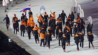 Netherlands at the 2014 Winter Olympics - Dutch team entering the stadium during the opening ceremony